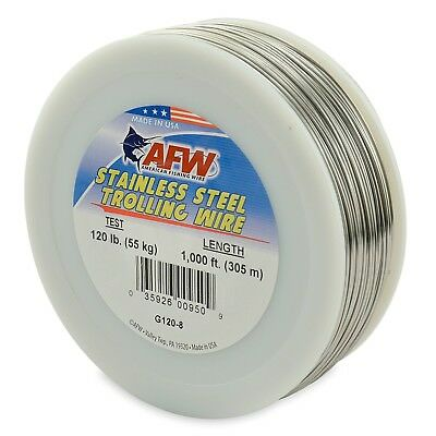 (90m, 23kg Test, Bright) - American Fishing Wire Stainless Steel Trolling Wire
