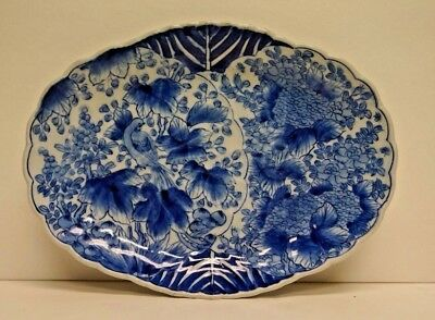 Vintage Japanese Imari Arita Blue White Oval Porcelain Scalloped Platter 12.5""