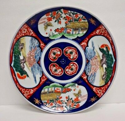 "Unique Large Japanese Imari Porcelain Platter 13.5"" with Rabbits"