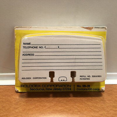 New Genuine Rolodex Petite Refill Cards 2 1/4 x 4 in. 100 Cards #SB31, Pls Read