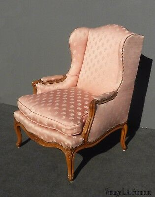 Vintage French Provincial Designer Pink Silk Down Feathers Accent Chair ~Country