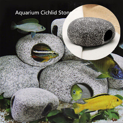 Cichlid Stone Cave Aquarium Fish Tank Pond Ornament Decoration Shrimp Breeding