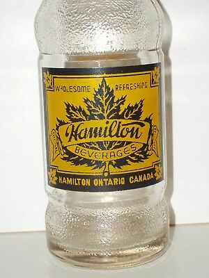 NM1940's HAMILTON BEVERAGES Clear SODA BOTTLE 6½oz ACL Ontario Canada Maple Leaf