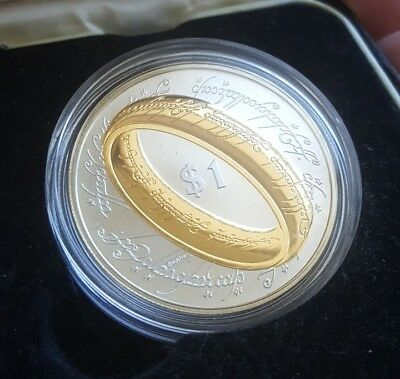 2003 New Zealand Lord of the Rings .925 Sterling Silver Proof Coin with 24k gold