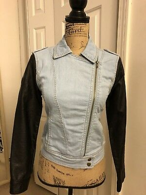 new womens blue denim faux leather long sleeve jacket Forever21 size S