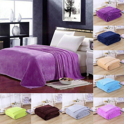 Luxury Solid Super Soft Warm Large Plush Fleece Mink Sofa Throws Bedding Blanket