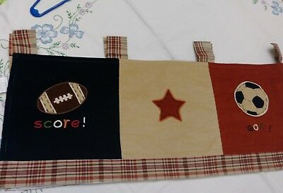"NoJo Window Valance Nursery My Little MVP Sports Corduroy Brown Red Blue 58"" boy"