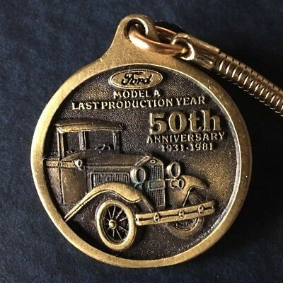 Model A Ford 50th Anniversary Keychain. NICE COLLECTIBLE & HARD TO FIND, +NR!