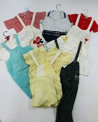 6 Vintage 1950's Boys Overall Rompers Nannette Good Lad Puss n Boots Lot