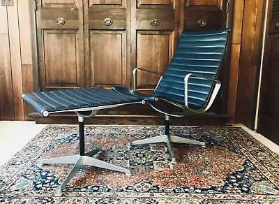 Authentic vintage Eames Aluminum Group lounge chair and ottoman