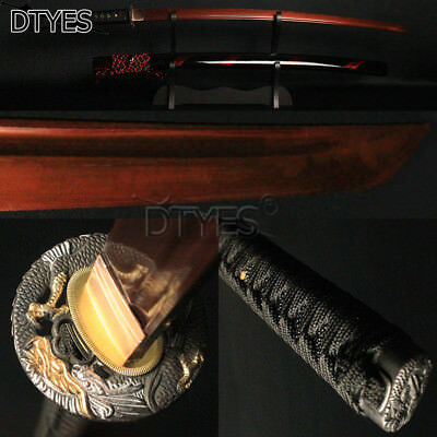 Japanese Samurai Sword Katana Red 1095 Carbon Steel Full Tang Blade Battle Ready