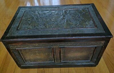 Antique Chest/ Treasure Box Wood with brass trim