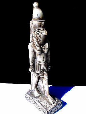 Ancient Egyptian Sun God Horus Ra Hand Crafted Vintage Statue Antique Bone Color