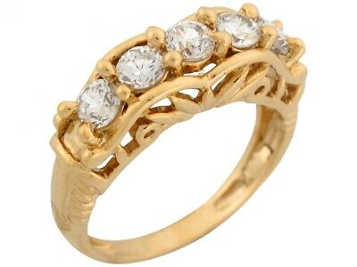 10k or 14k Solid Gold Five-stone White CZ Antique Design Ladies Anniversary Ring