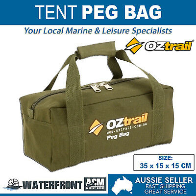 OZtrail Tent Peg Bag Brown Canvas Hiking Camping Rope Guy Heavy Duty Storage