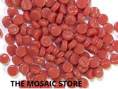 Orange Red Glass Dots (Circles, Round Tiles) - Mosaic Art Craft Supplies Tiles