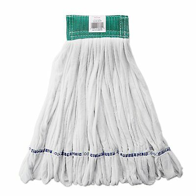 Rubbermaid Commercial Rough Floor Wet Mop, Large, 5-Inch Green Headband, White