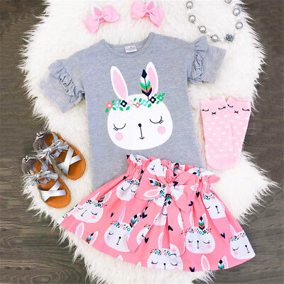 UK Toddler Kids Baby Girls Easter Bunny Tops T-shirt Skirt Dress Outfits Clothes