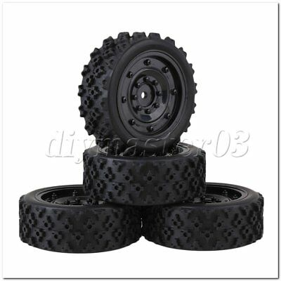 4pcs Black Plastic Imitate Wheel Rim + Flower Rubber Tyre for RC1:10 On Road Car