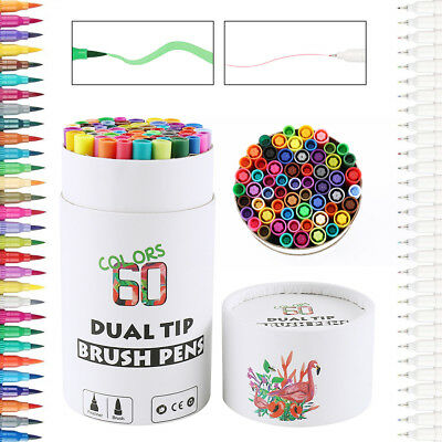 60-Color Pens Set Watercolor Drawing Painting Brush Artist Sketch Manga Marker