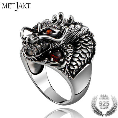 Vintage 925 Sterling Silver Domineering Dragon Ring with Ruby Punk Rock Rings