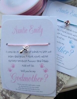 Personalised Will You Be My Godmother,Godfather,Godparent? Wish Bracelet Gift