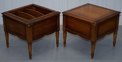 Pair Of French Cherry Wood Grande Bretagne Side End Lamp Tables For Magazines