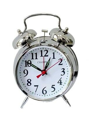 Champion Chrome Wind Up Double Bell Alarm Clock New DB8496CR