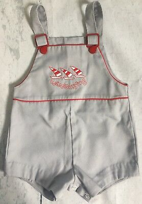 Vintage Baby Infant Toddler 12M Windsurfing Short Overalls 80s