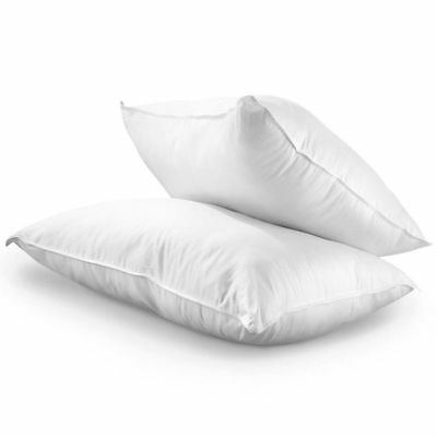 Duck Goose Feather Pillow Pair 2 Pack Set New White Anti Allergic Natural Soft