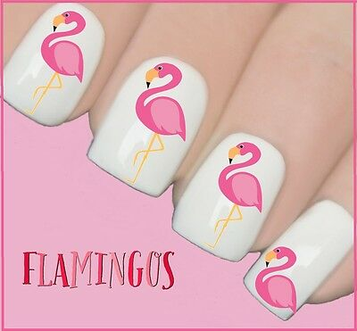 Pink Flamingo Summer Nail Art Decals Water Transfers Wraps Stickers Y147