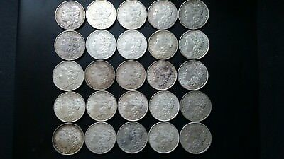 "25 Silver Dollar Roll Of Pre. 1921 Morgans $1 Coins. "" Lot # 2 "" X.f./+ """