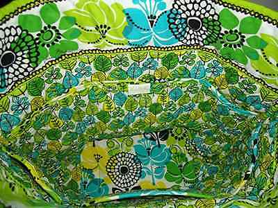 """NWT Vera Bradley Tote """"VERA"""" Limes Up  Vibrant Greens Yellow Turquoise Flowers"""