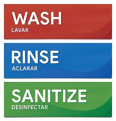 Wash Rinse and Sanitize Sink Labels | Sticker Signs for Restaurants, Kitchens, F
