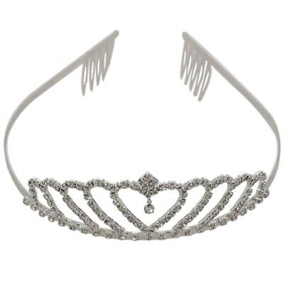 Crown Tiara Princess Headband Stylish Rhinestone with Pin for Wedding H5Y1