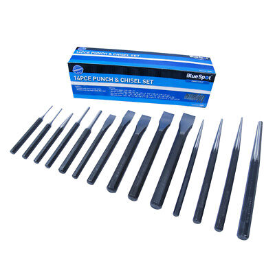 Blue Spot Tools Heavy Duty Punch Drift & Metal Chisel 14pc Set & Tool Roll 22451