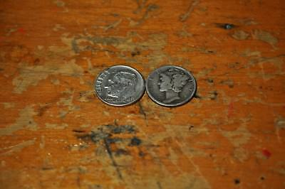 Lot Of 2 Silver Dimes One Roosevelt One Mercury