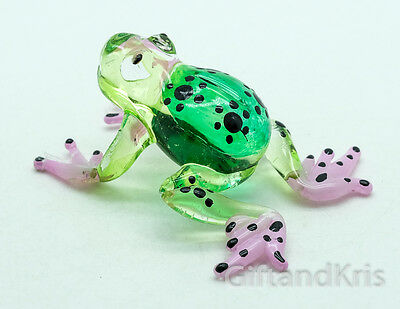 Figurine Miniature Animal Hand Blown Glass Frog - GTFR027