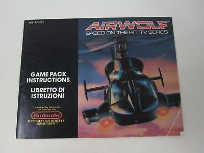 Air Wolf - Nintendo NES Instruction Manual Only - NO GAME!