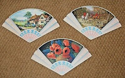 3  Vintage 1920's Advertising Hand Fan Fans Chicago Three Star Laundry Souvenir
