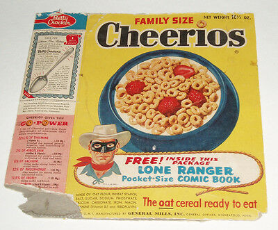 1950's Cheerios Cereal Box w/ Lone Ranger Comic Book offer