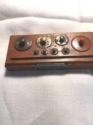 Vintage Pharmacy Weights In Wood Holder, John M Maris Co