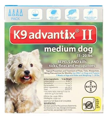 K9 Advantix II for Medium Dogs [11-20 lbs] (4 count)
