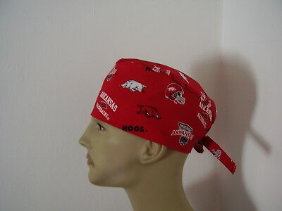 Surgical Scrub Tieback Hat- University of Arkansas- Razorbacks/Hogs - Men Women
