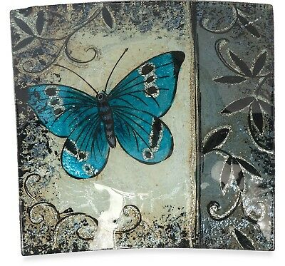 Angelstar 19053 Handmade and Hand-Painted Glass Blue Butterfly Square Plate,