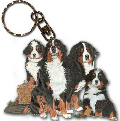 Bernese Mountain Dog Keychain Key Ring Wooden