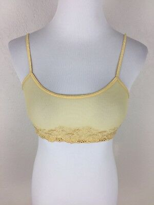 Vintage OLGA Sheer Lace Pale Yellow Bralette Bra Size Small EI