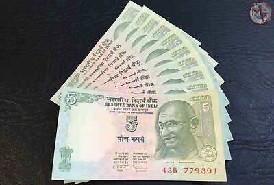India 5 Rupees- 2010- Set 10 PCS- UNC consecutive numbers
