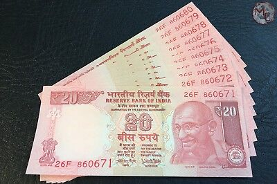 India 20 Rupees- 2017- Set 10 PCS- UNC- consecutive numbers !!!