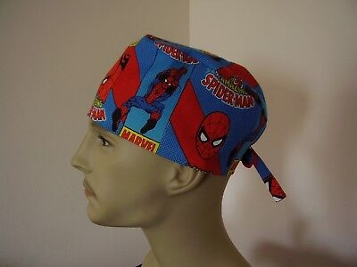 Surgical Scrub Cap/Hat - SPIDERMAN -Handmade- One size - Men Women